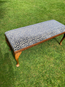 Antique Bench Upholstered in Colefax and Fowler Velvet Leopard Print Fabric