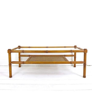 Beautiful Mid Century Bamboo and Cane Coffee Table
