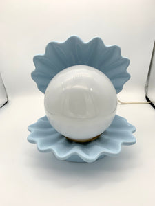 1960's Baby Blue Ceramic Shell Lamp