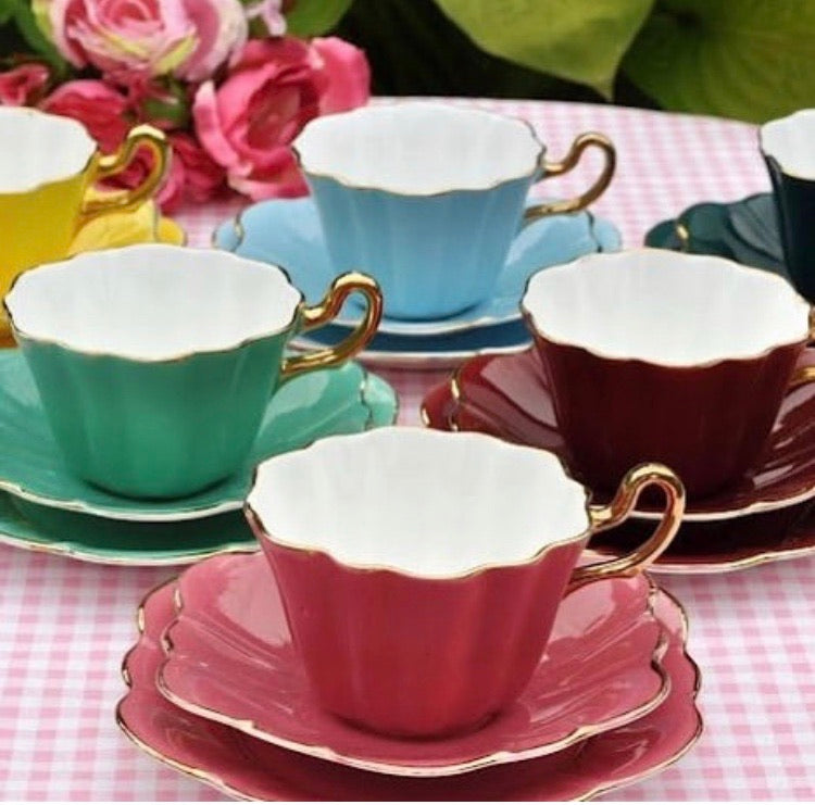 Set of Six Vintage Harlequin Tea Cup Trios