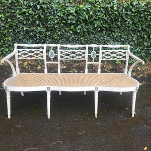 Antique Cane and Wood Bench