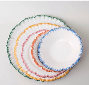 Set of Six Handmade French Faience Dinner plates