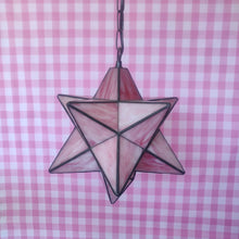 Load image into Gallery viewer, Vintage Pink Glass Star Hanging Pendent Light