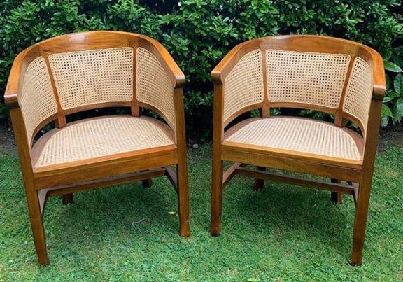 Vintage Pair of Wood and Cane Chairs