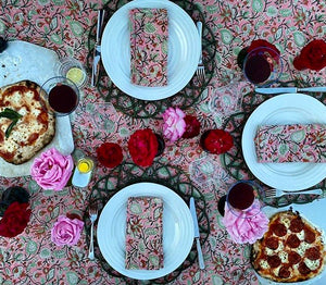 Pink Floral Tablecloth and Napkins