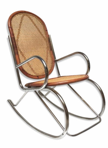 Chrome and Cane Mid Century rocking chair