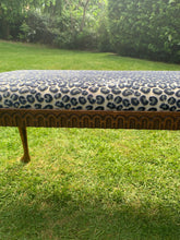 Load image into Gallery viewer, Antique Bench Upholstered in Colefax and Fowler Velvet Leopard Print Fabric