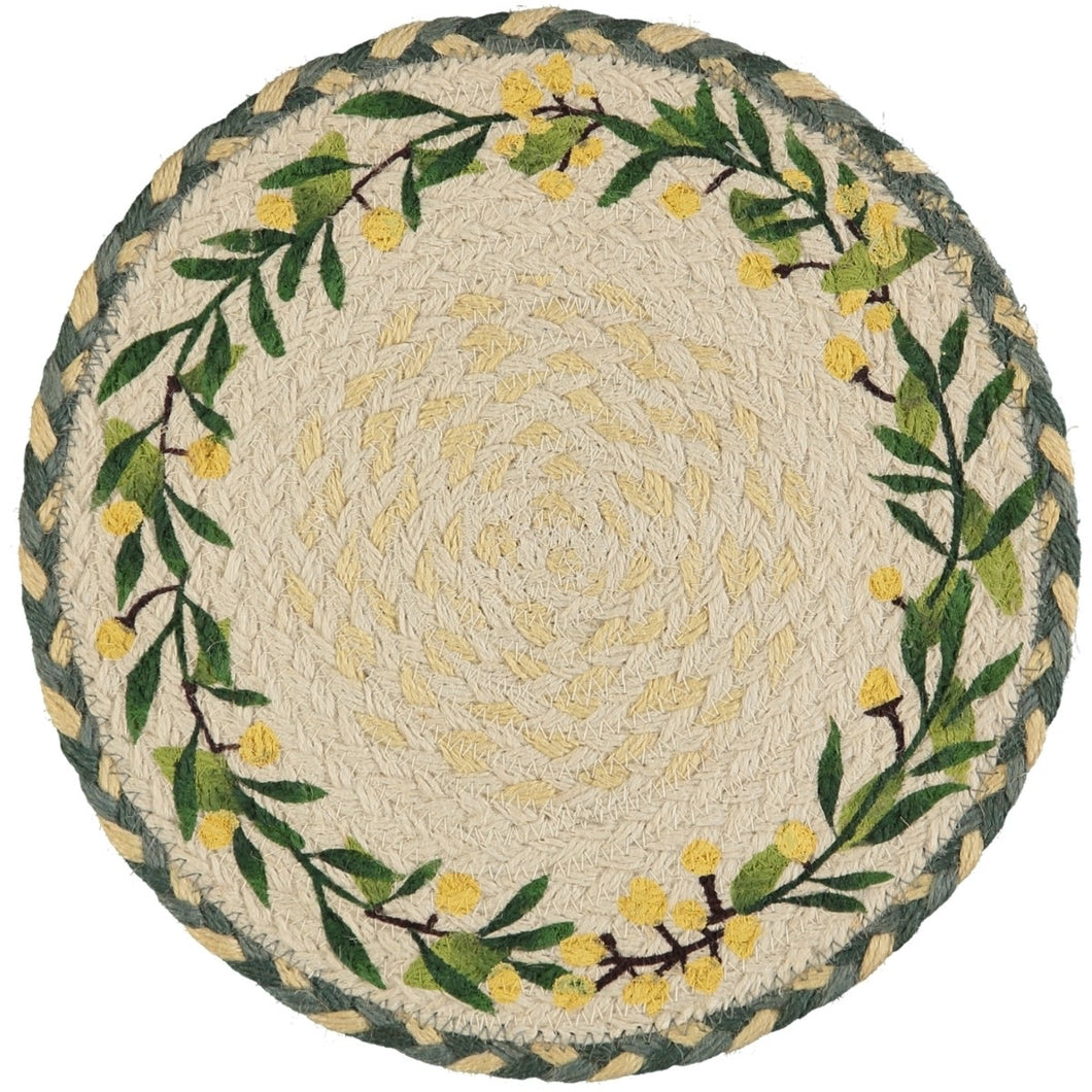 6 Yellow Flower Hand Woven Placemats
