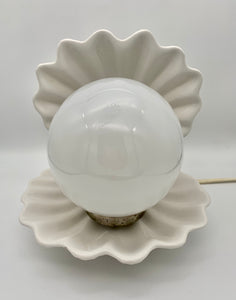 1960's White Ceramic Shell Lamp