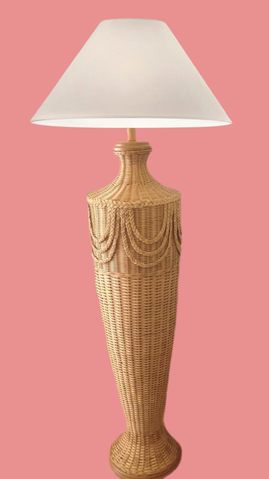Vintage Rattan Braided Floor Lamp
