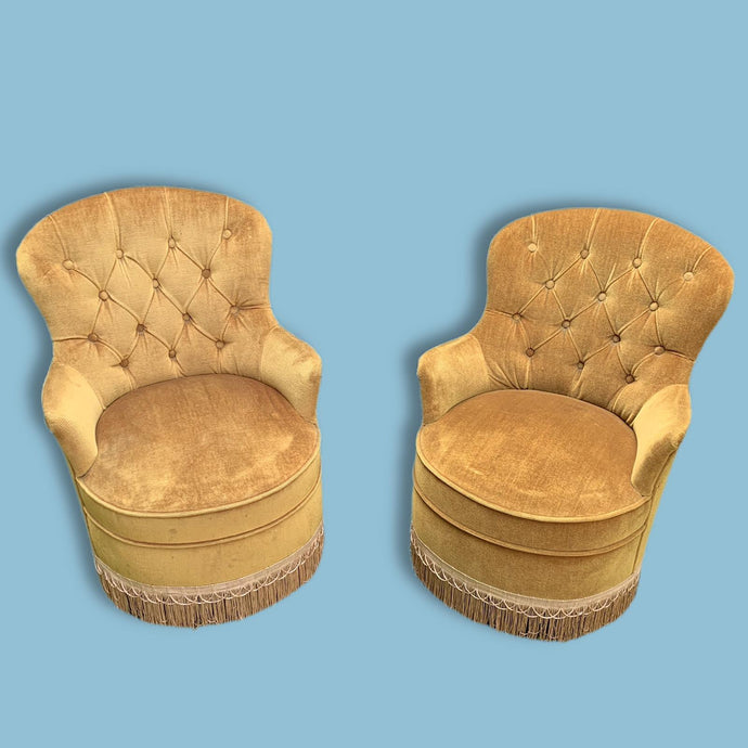 Pair of Fringed Tasseled Mustard Boudoir Chairs