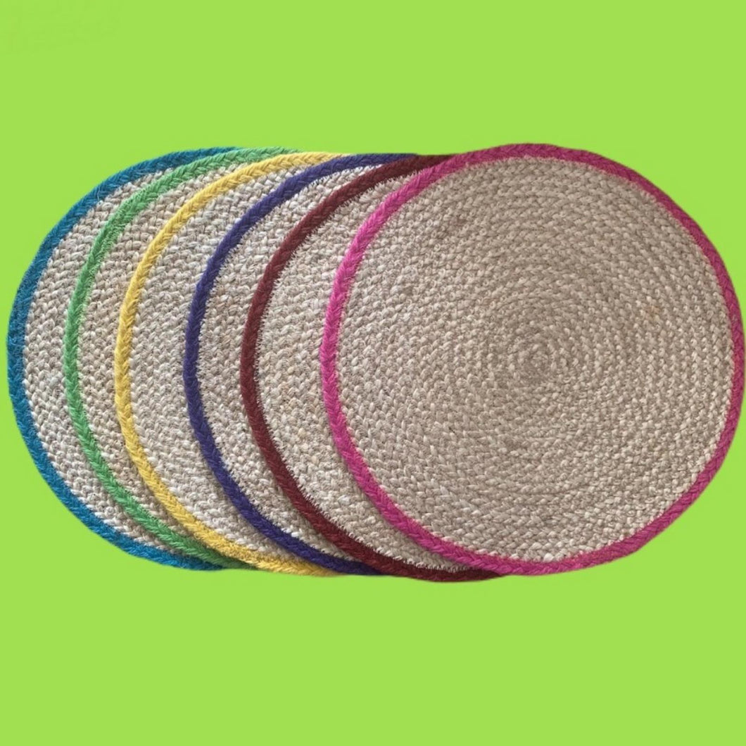 6 Multicoloured Hand Woven Placemats