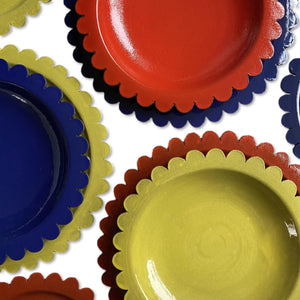 Coloured Scalloped Ceramic Plates
