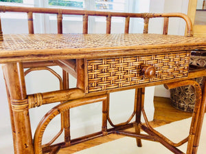1970s Bamboo and Wicker Console Table/Small Dressing Table