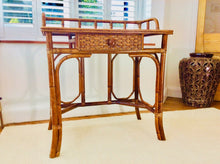 Load image into Gallery viewer, 1970s Bamboo and Wicker Console Table/Small Dressing Table