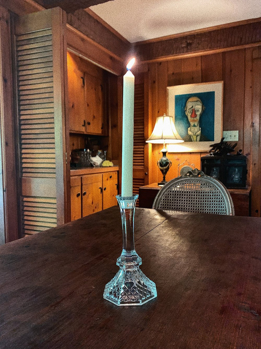 Vintage Crystal Taper Candle Holder with Candle