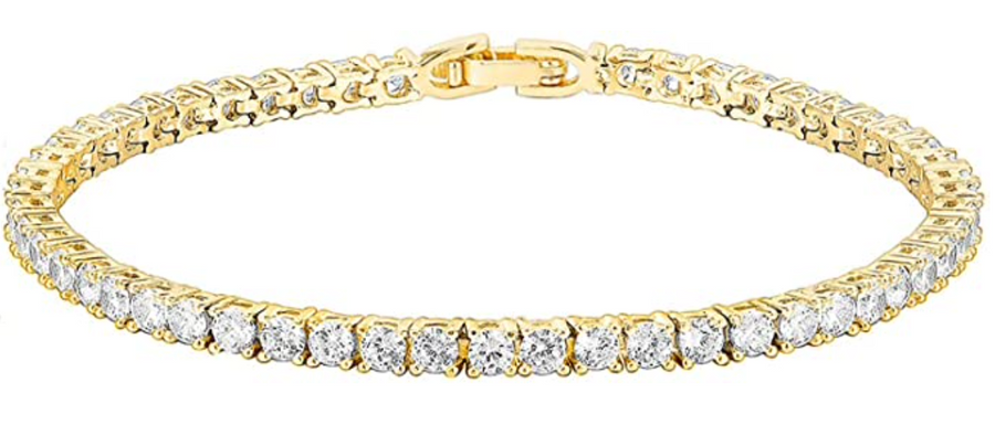 14k Yellow or White Gold Plated Classic Tennis Bracelet