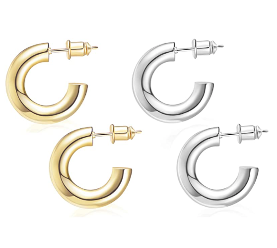 14k Yellow or White Gold Plated Medium Thick Tube Hoop Earrings