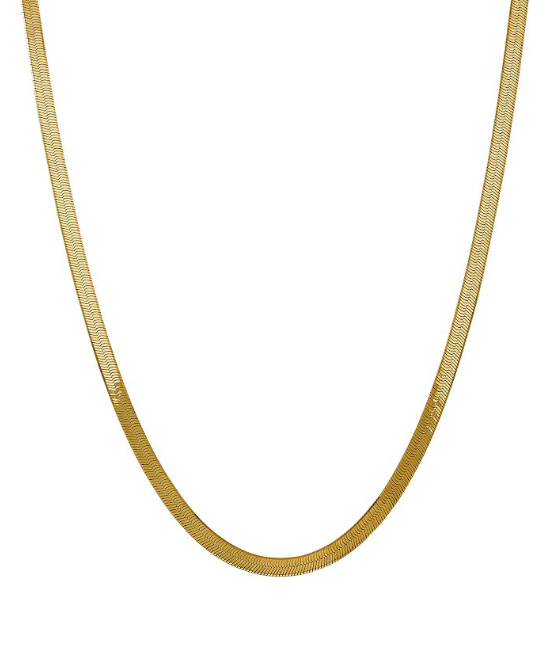14k Gold Plated Classic Flat Herringbone Necklace 20