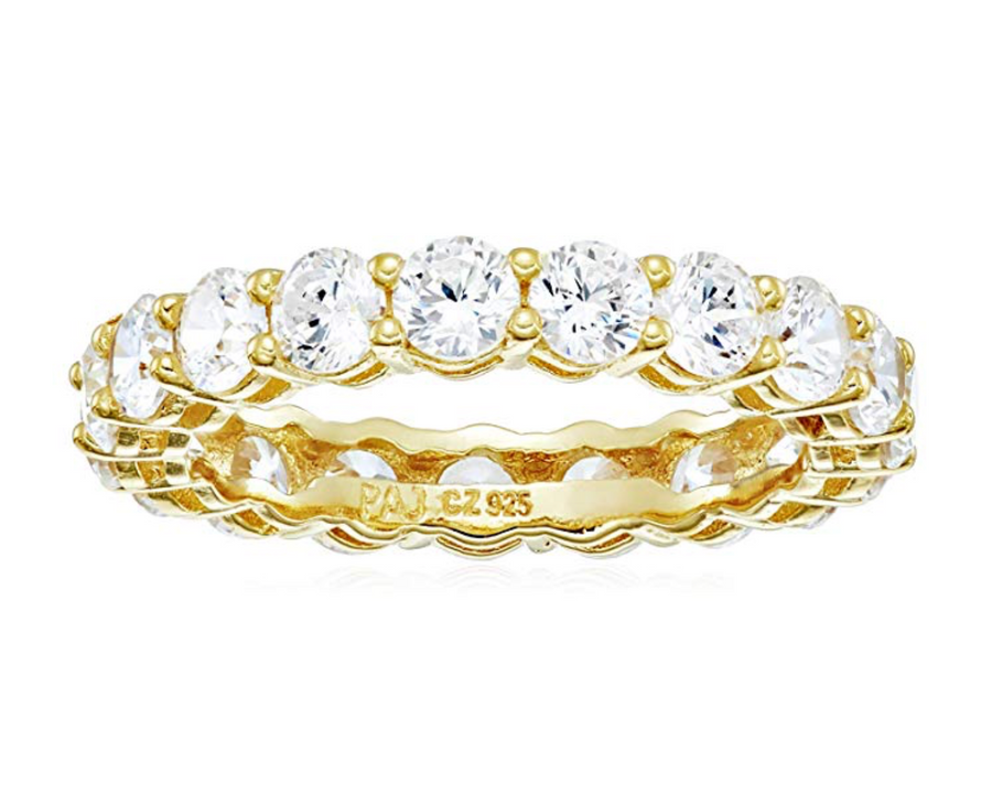 18k Gold Plated Round Cut Eternity Band Ring