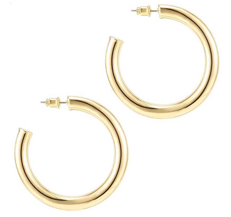 14k Gold Plated Lightweight Thick Gold Hoop Earrings - LARGE