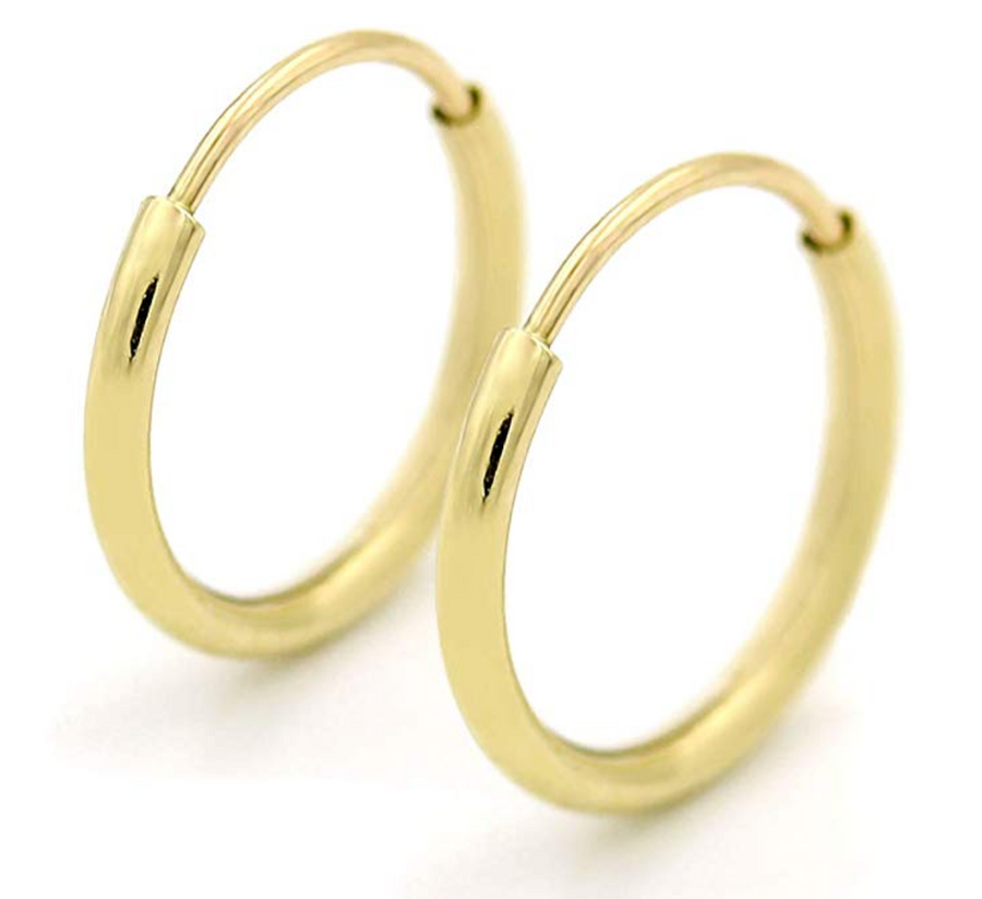 14k Gold Endless Hoop Earrings 10mm