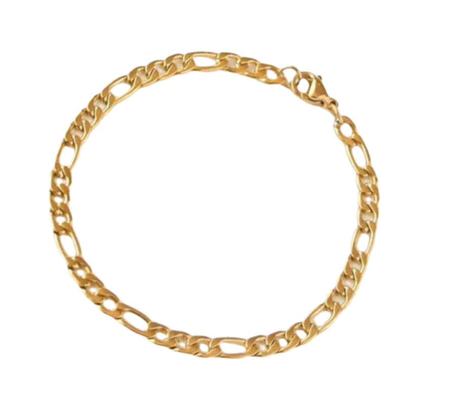 14k Gold Plated 4mm Figaro Chain Bracelet