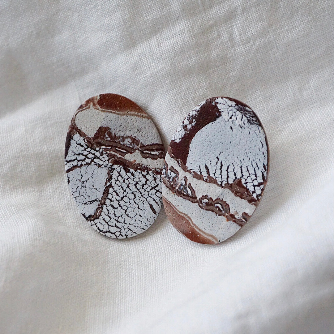 Simple Oval Studs // Brown Stone