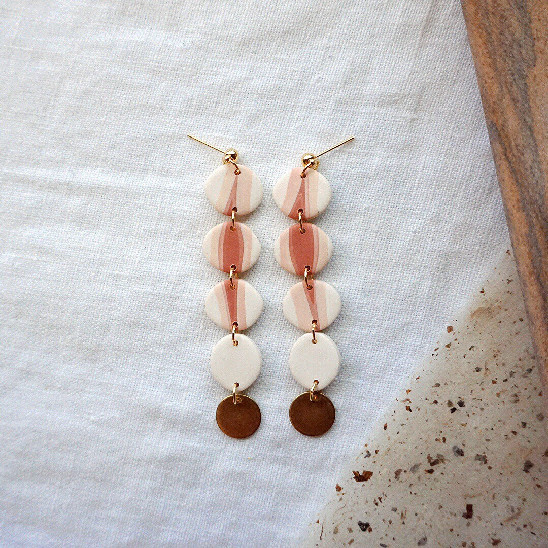Pebble Stack Polymer Clay Earrings