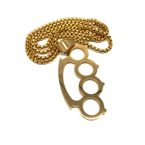 24in 3mm Rolo Chain With Brass Knuckles Pendant STL_030 - WORLDSTARBLING