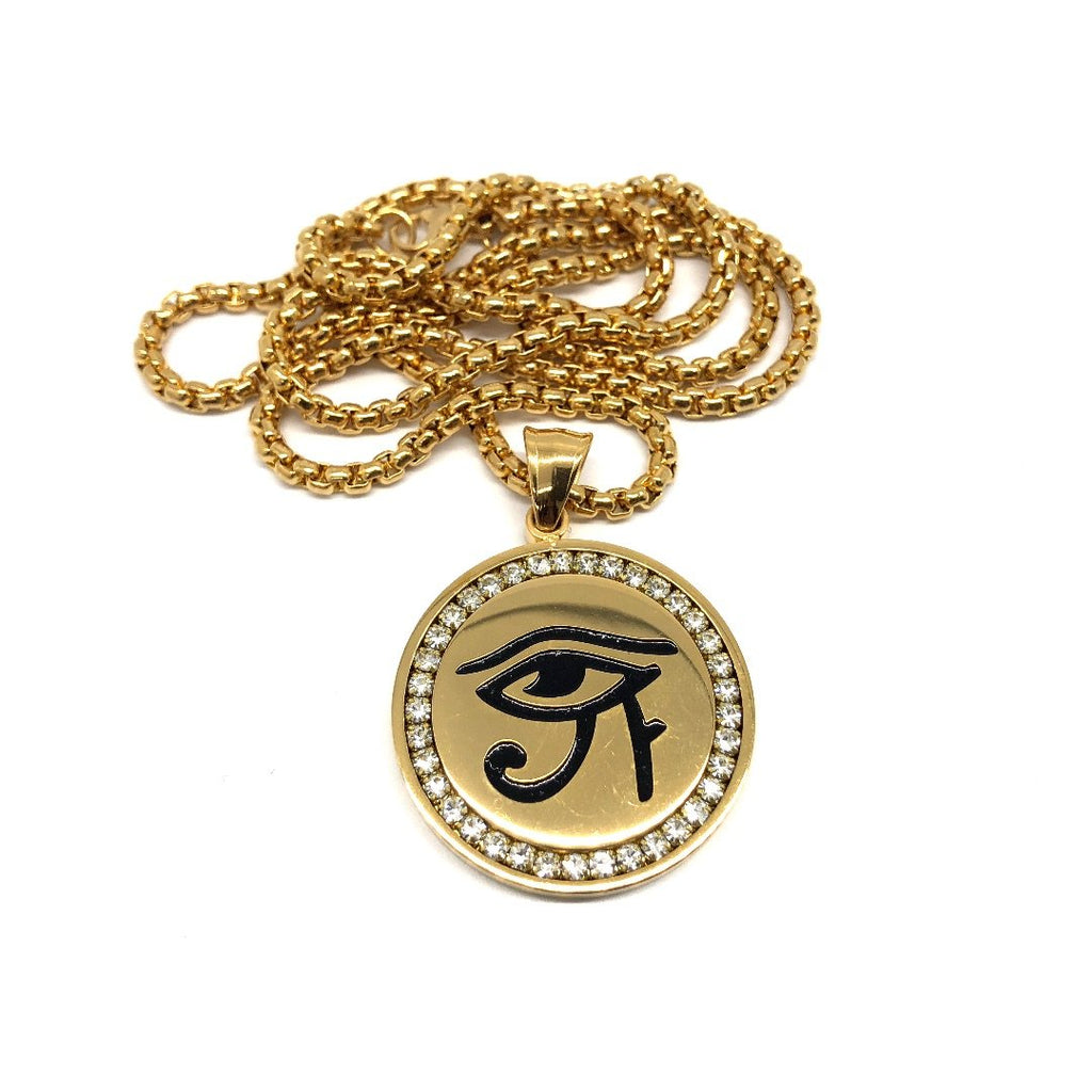24in 3mm Rolo Chain With Egyptian Eye Pendant STL_014 - WORLDSTARBLING