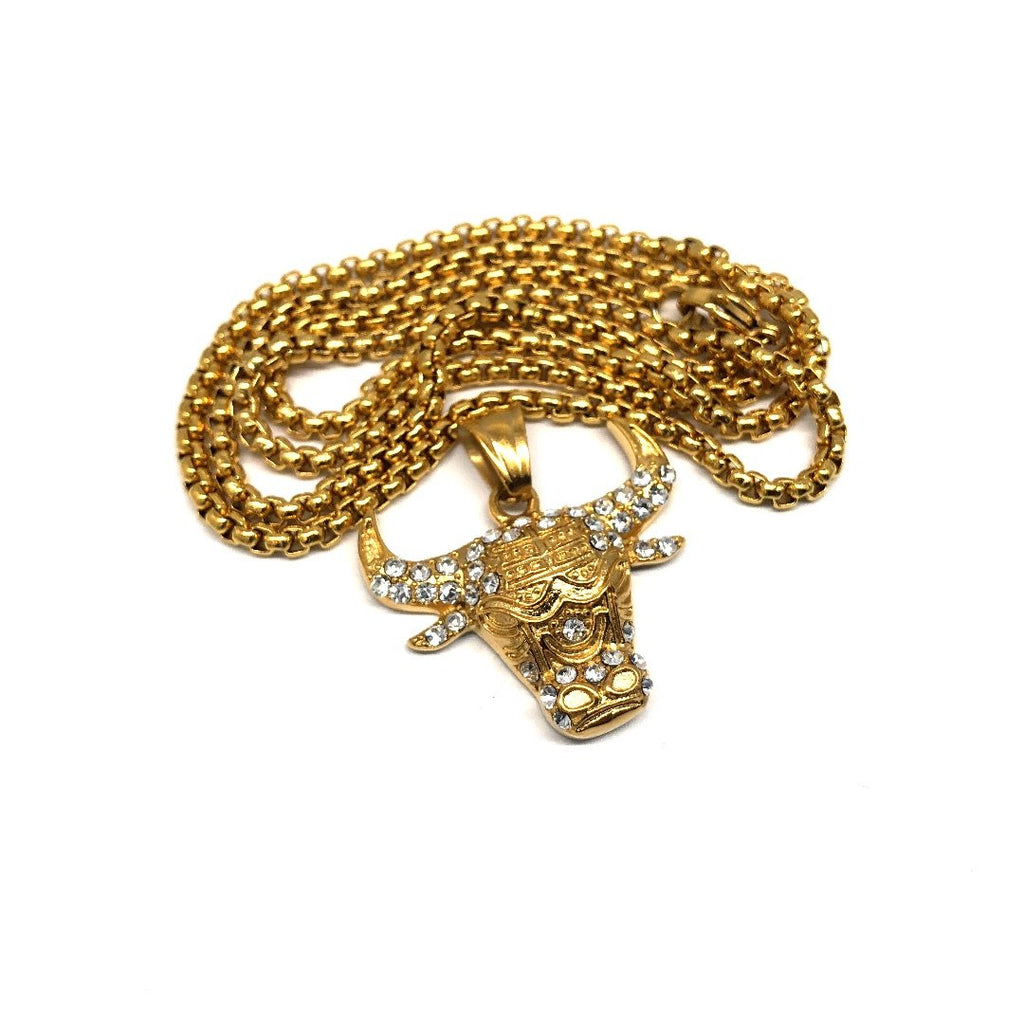 24in 3mm Rolo Chain With Big Bull Pendant STL_029 - WORLDSTARBLING