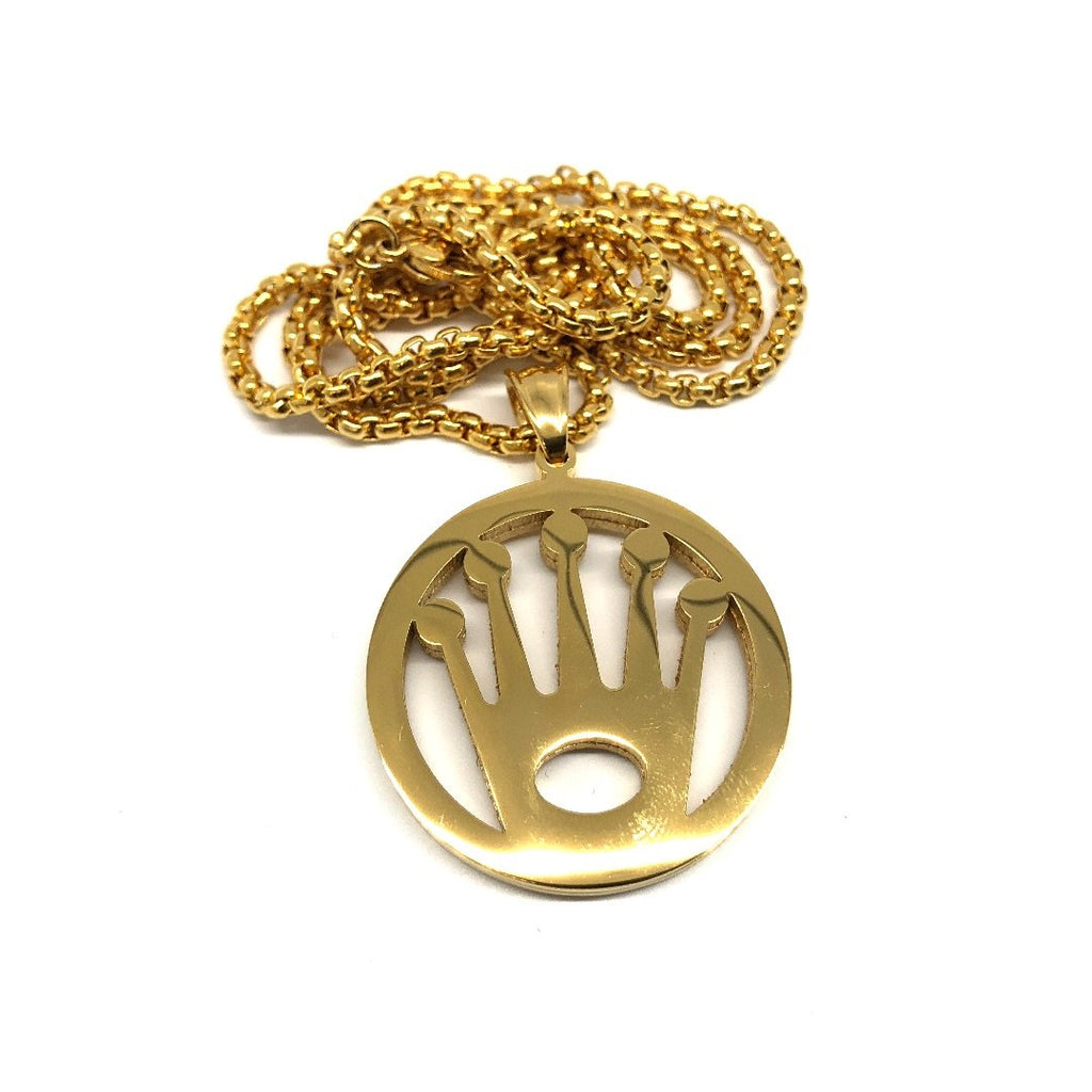 24in 3mm Rolo Chain With Rolex Icon Pendant STL_008 - WORLDSTARBLING