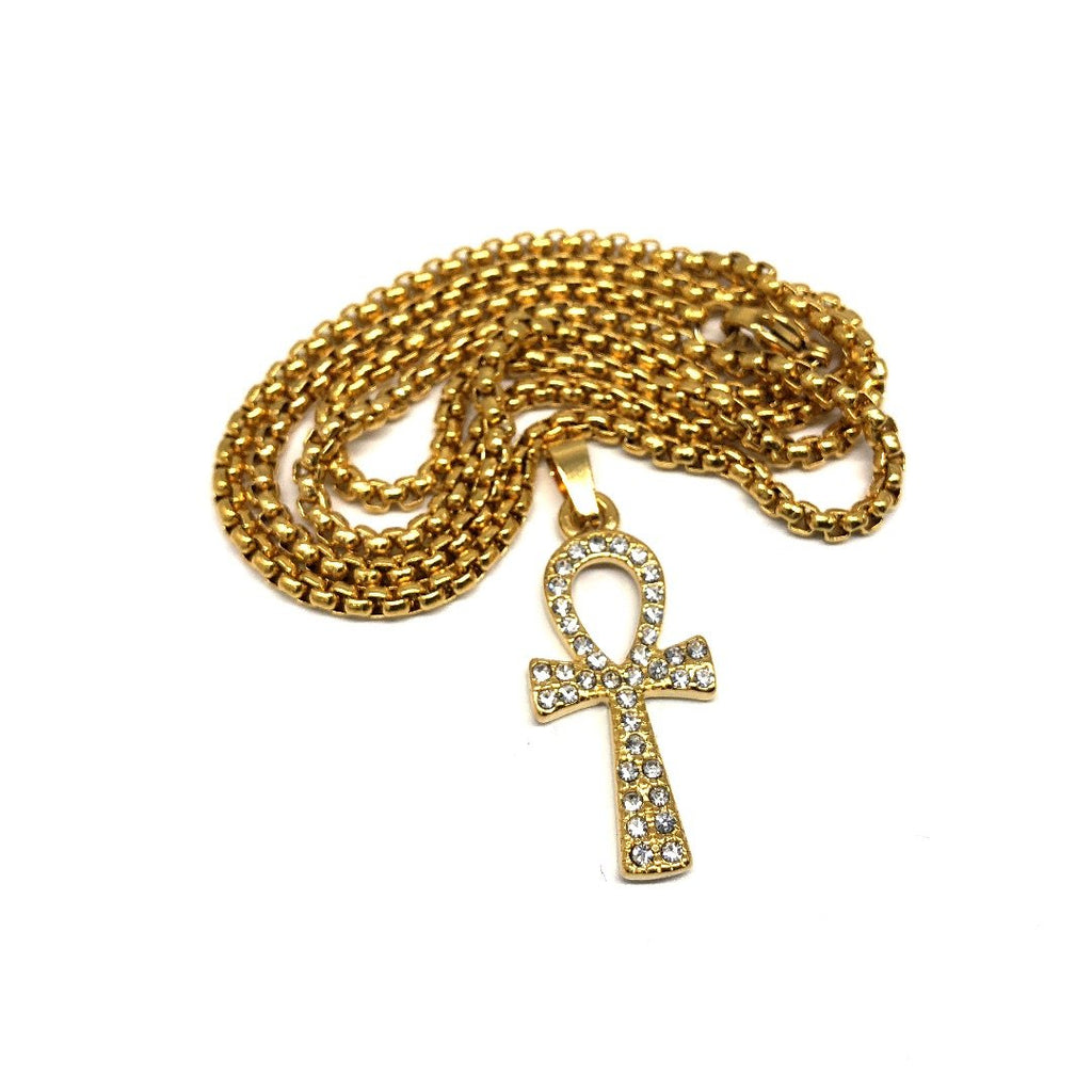 24in 3mm Rolo Chain With Ankh Cross Pendant STL_028 - WORLDSTARBLING