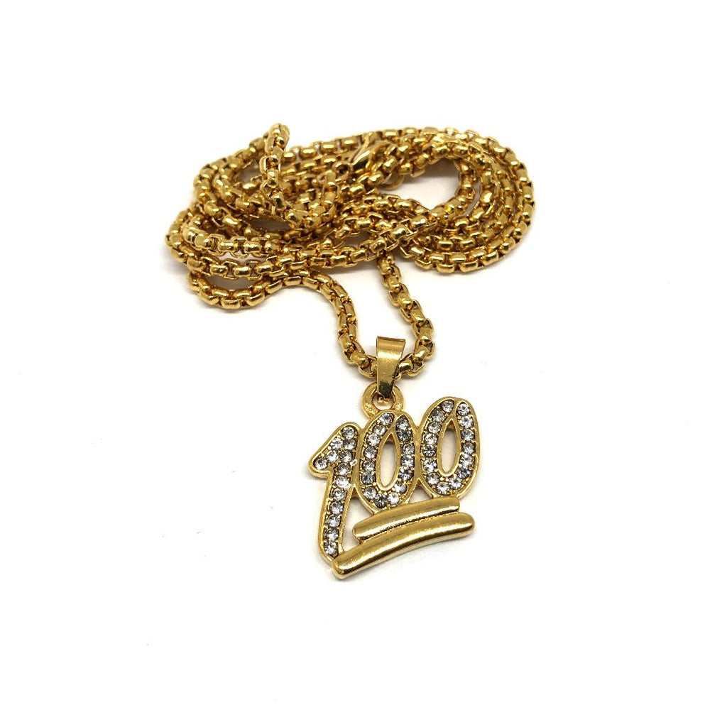 24in 3mm Rolo Chain With Number 100 Pendant STL_017 - WORLDSTARBLING