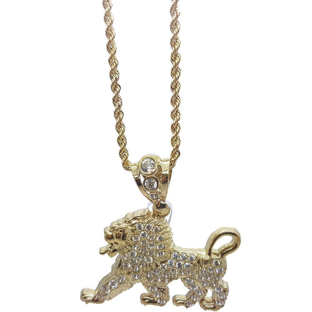 Rope Chain 2.5MM 10K With Lion en OR 10K MNG-115 - WORLDSTARBLING