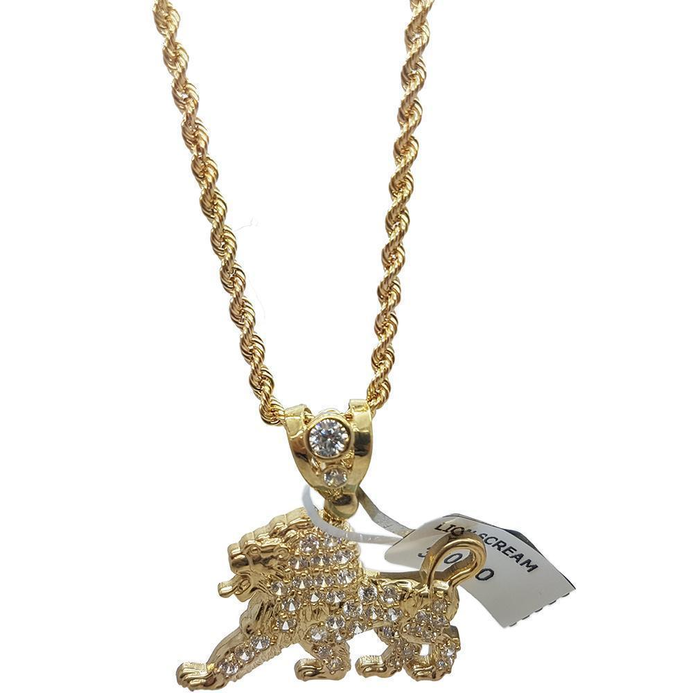 Rope Chain 2.5MM 10K With Lion Petit en OR 10K MNG-117 - WORLDSTARBLING