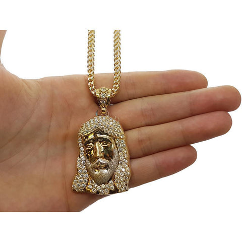10K Franco 3.5MM 10K & Jesus en or 10K MNG-095 - WORLDSTARBLING