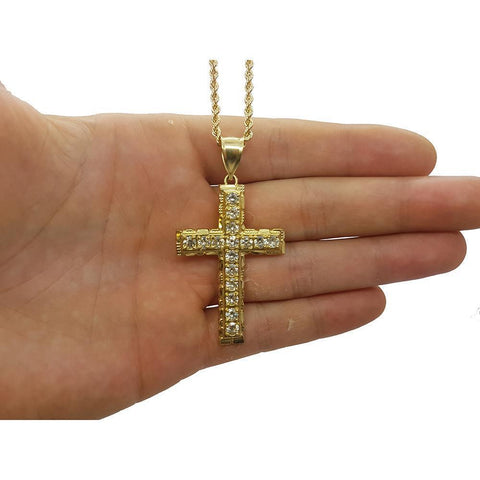 Rope Chain 2.5MM 10K With Cross OR 10K MNG-126 - WORLDSTARBLING