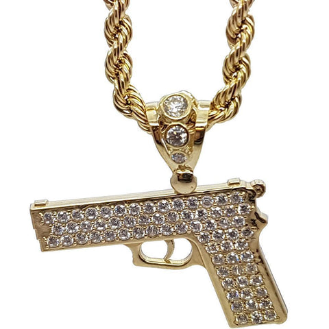 Rope Chain 4.0MM 10K With Pistol en OR 10K MNG-023 - WORLDSTARBLING