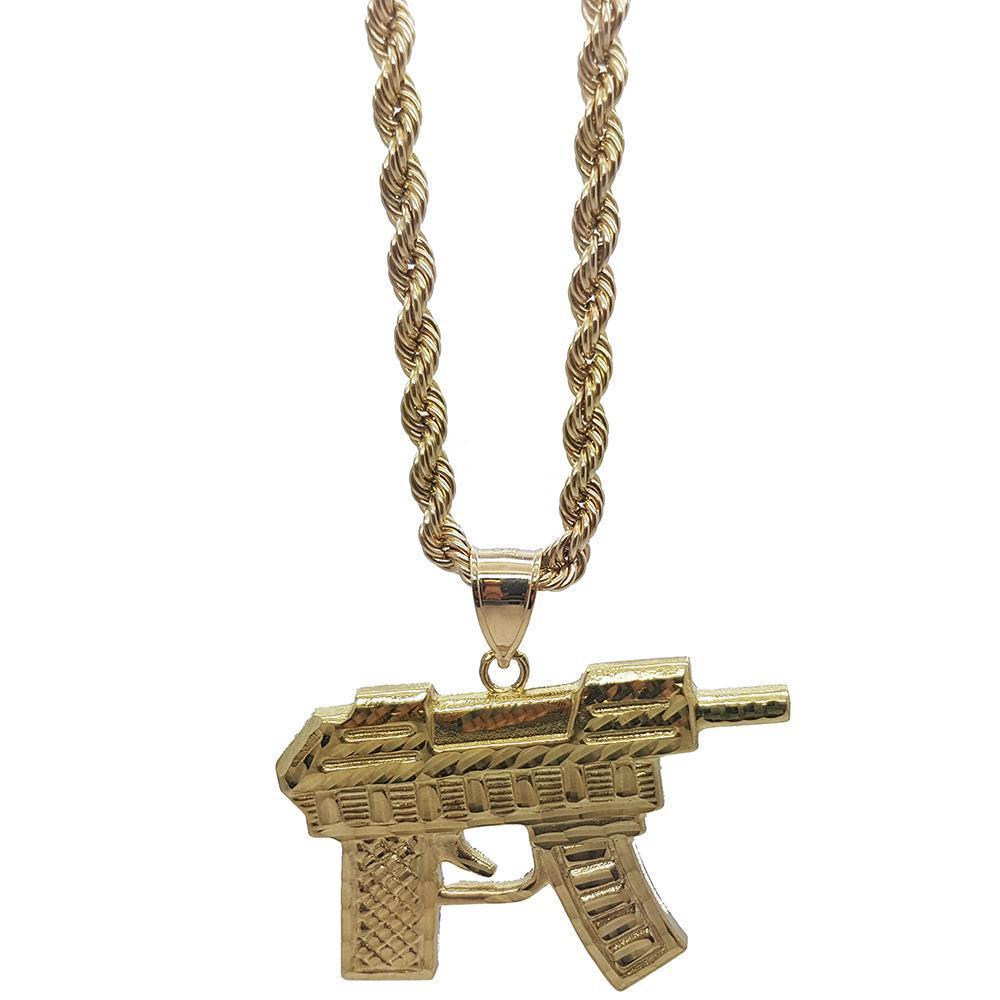 Rope Chain 4.0MM 10K With Uzi en OR 10K MNG-043 - WORLDSTARBLING