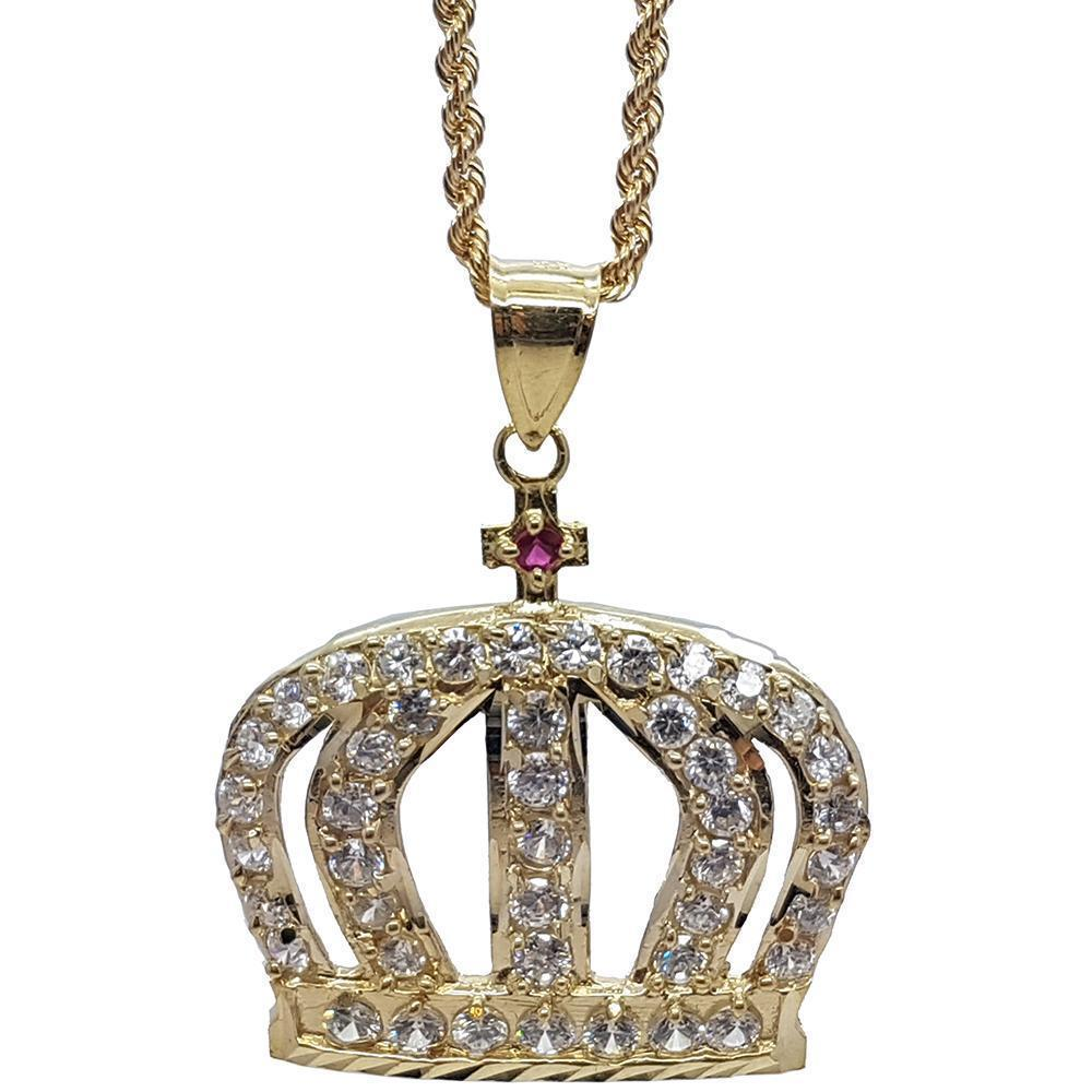 Rope Chain 2.5MM 10K With Queen Small en OR 10K MNG-134 - WORLDSTARBLING