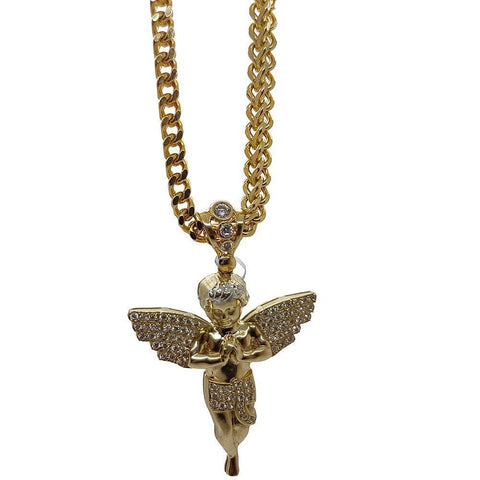Franco 5MM en OR With Pendentif Angle 10K MNG-044 - WORLDSTARBLING