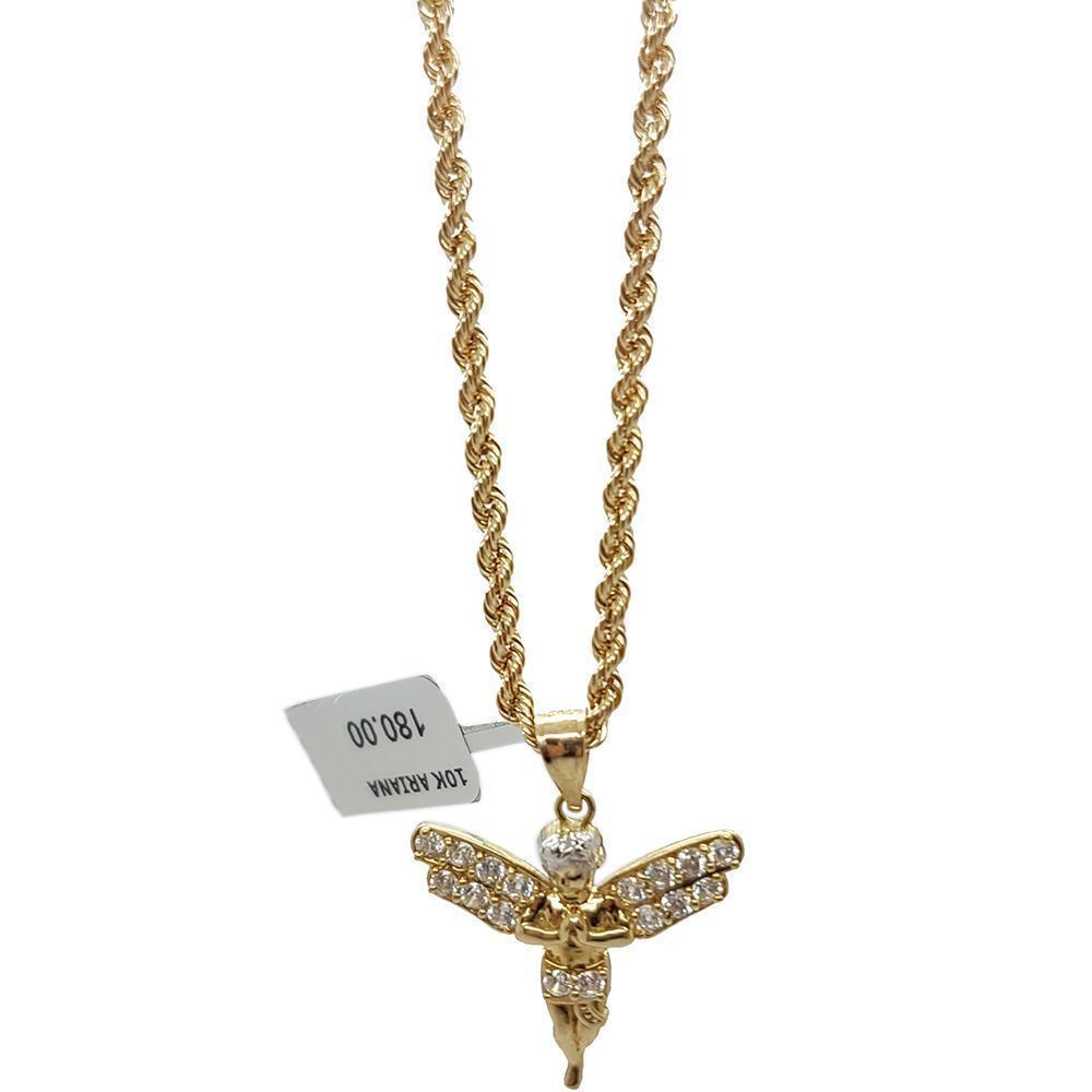 Rope Chain 2.5MM 10K With Pendentif Angle 10K MNG-106 - WORLDSTARBLING