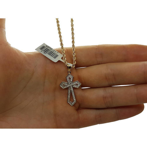 Rope Chain 2.5MM 10K With Cross OR 10K MNG-128 - WORLDSTARBLING