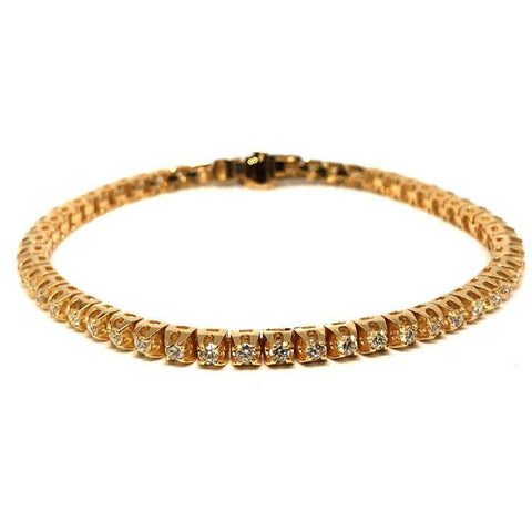 14K Yellow Gold 2.60CT Diamond Tennis Bracelet DBG-001 - WORLDSTARBLING