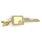 10K Yellow Gold 55MM 0.67CT Diamond Roll Royce Key Pendant DPG-013 - WORLDSTARBLING
