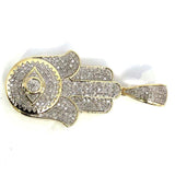 10K Yellow & White Gold 18MM 0.44CT Diamond Fatima Pendant DPG-016 - WORLDSTARBLING