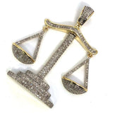 10K Yellow & White Gold 37MM 0.74CT Diamond Pendant DPG-020 - WORLDSTARBLING
