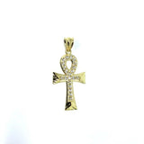 Yellow Gold Ankh Cross Pendant with Diamond Cut and Zircons S GAP-008 - WORLDSTARBLING